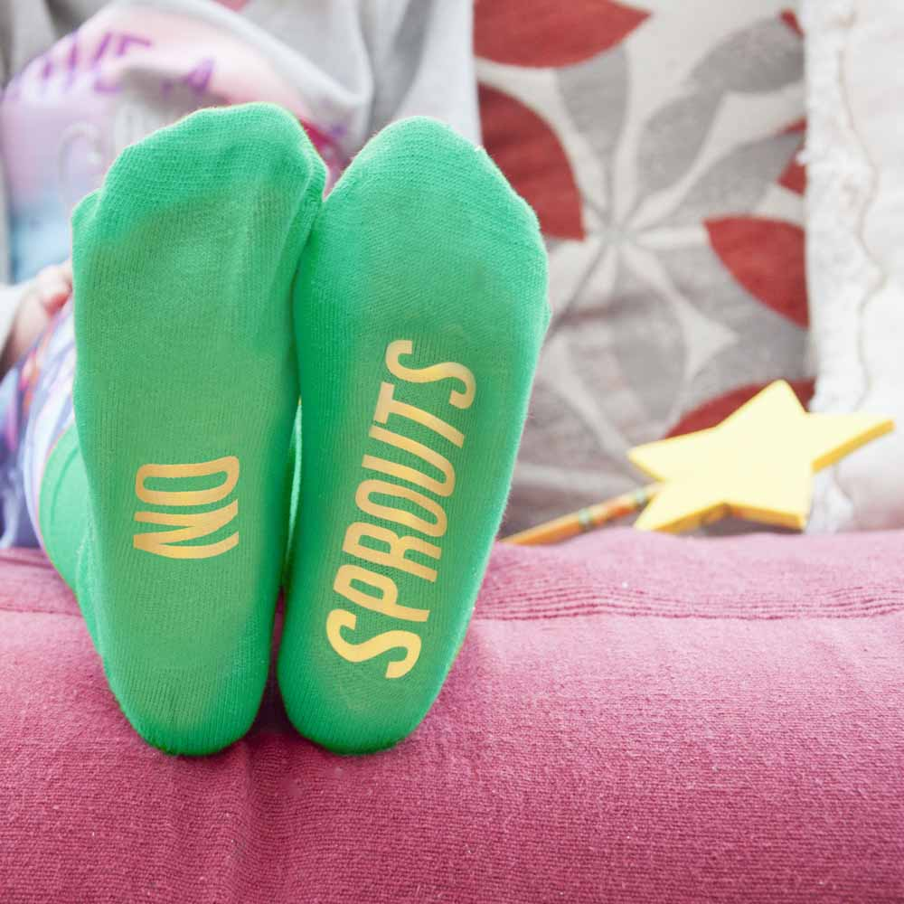 Personalised Kids Sprout Green and Canary Yellow Christmas Day Socks - treat-republic