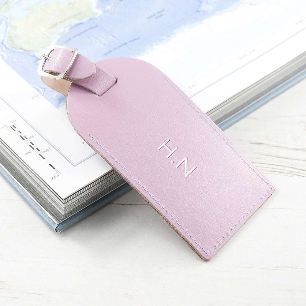 Personalised Lilac Foiled Leather Luggage Tag - treat-republic