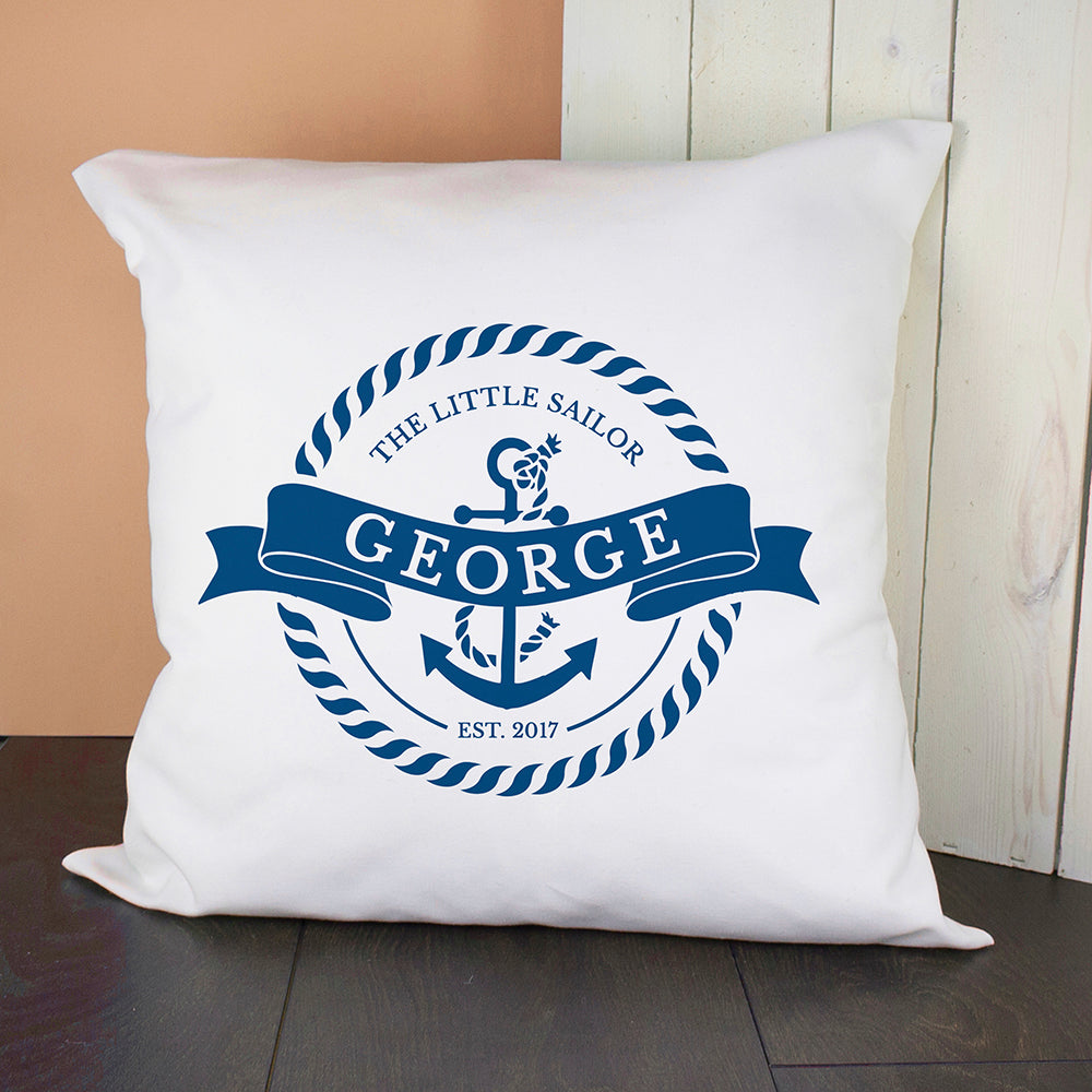 Personalised Little Sailor With Anchor Cushion Cover - treat-republic