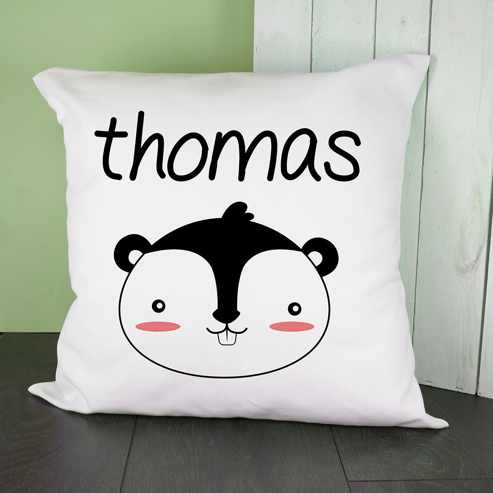 Personalised Little Squirrel Face Cushion Cover - treat-republic