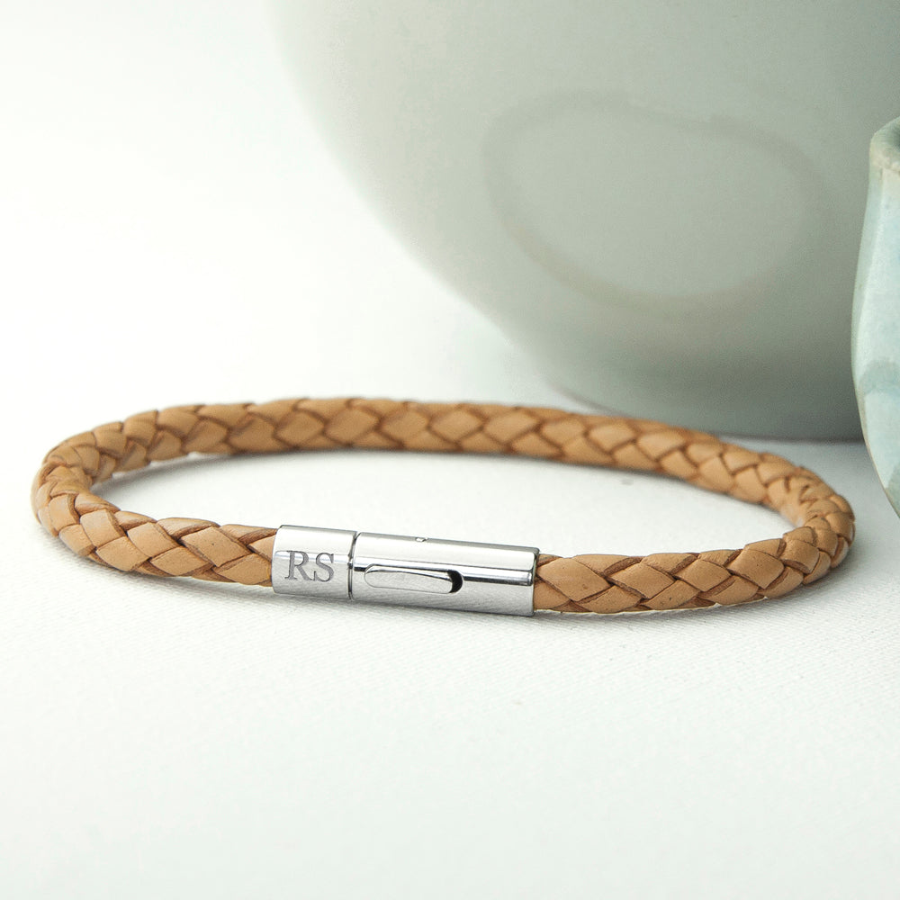 Personalised Men's Leather Capsule Bracelet - treat-republic