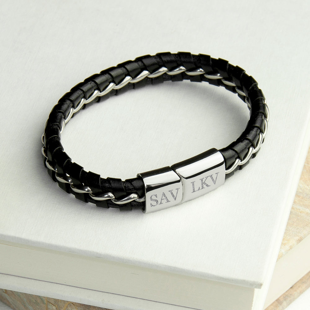 Personalised Men's Metal Detailed Leather Bracelet - treat-republic