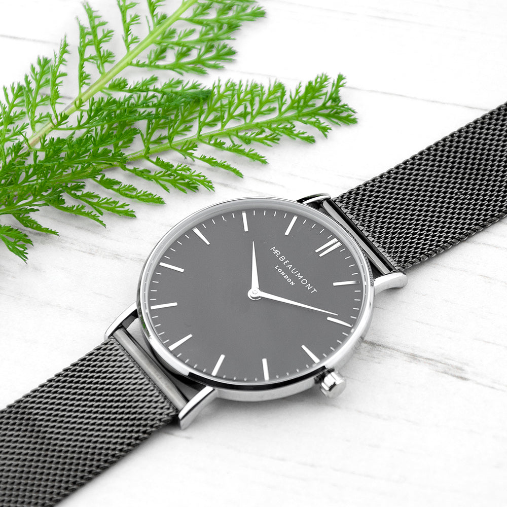 Mr Beaumont Personalised Men's Metallic Charcoal Grey Watch With Black Face - treat-republic