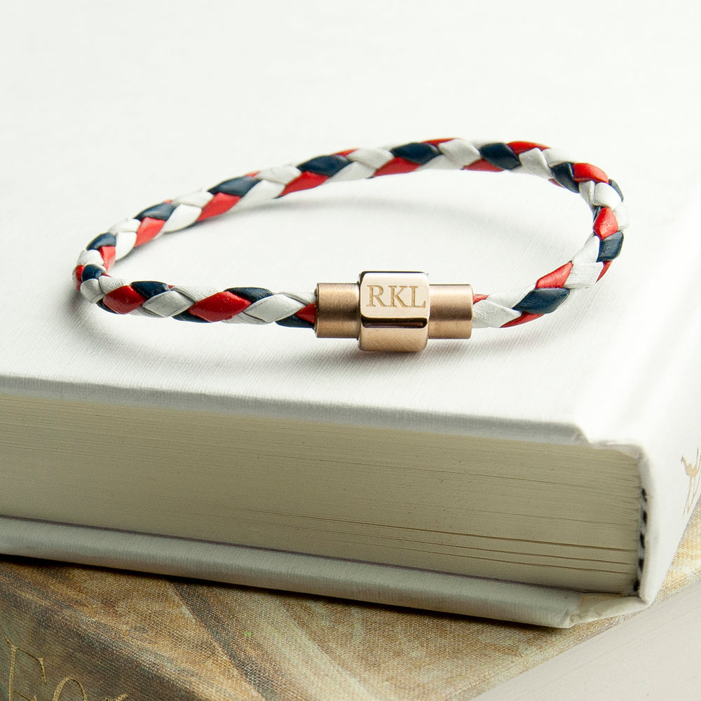 Personalised Wome's Nautical Leather Bracelet With Gold Clasp - treat-republic