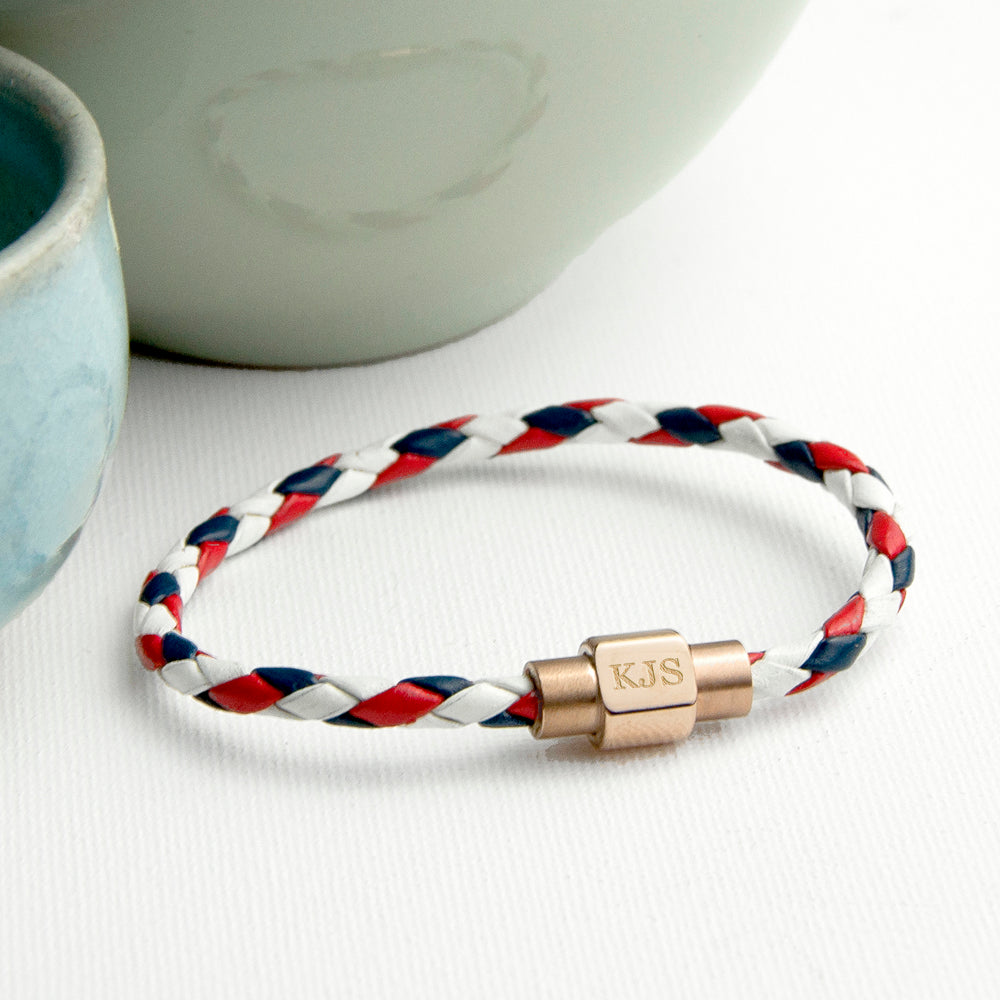 Personalised Men's Nautical Leather Bracelet With Gold Clasp - treat-republic