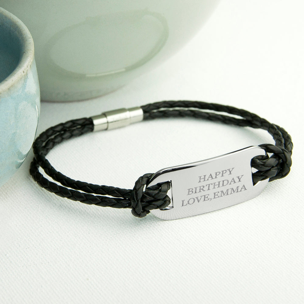 Personalised Men's Statement Leather Bracelet in Black - treat-republic