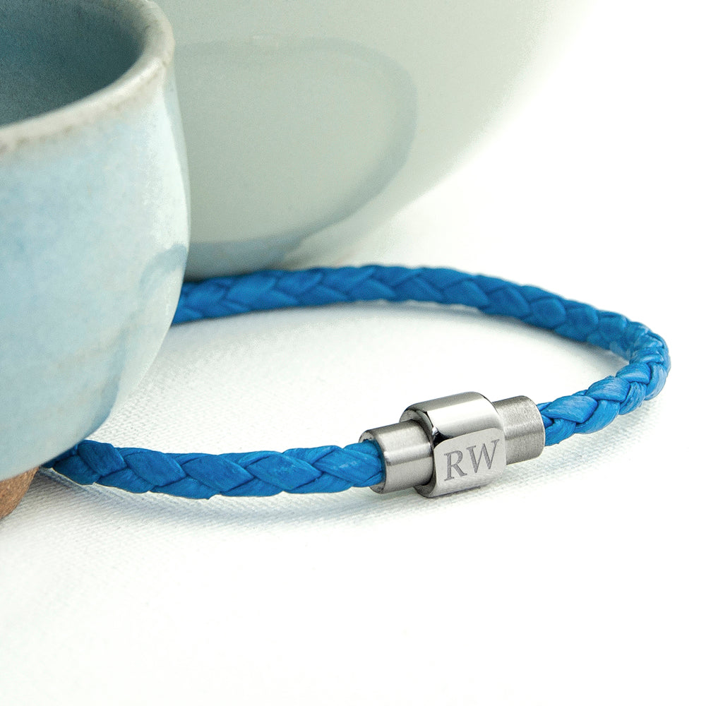 Personalised Men's Woven Leather Bracelet in Cobalt Blue - treat-republic