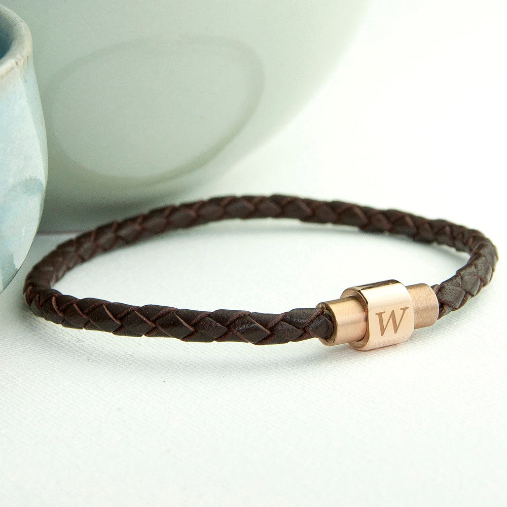 Personalised Men's Woven Leather Bracelet With Gold Clasp - treat-republic