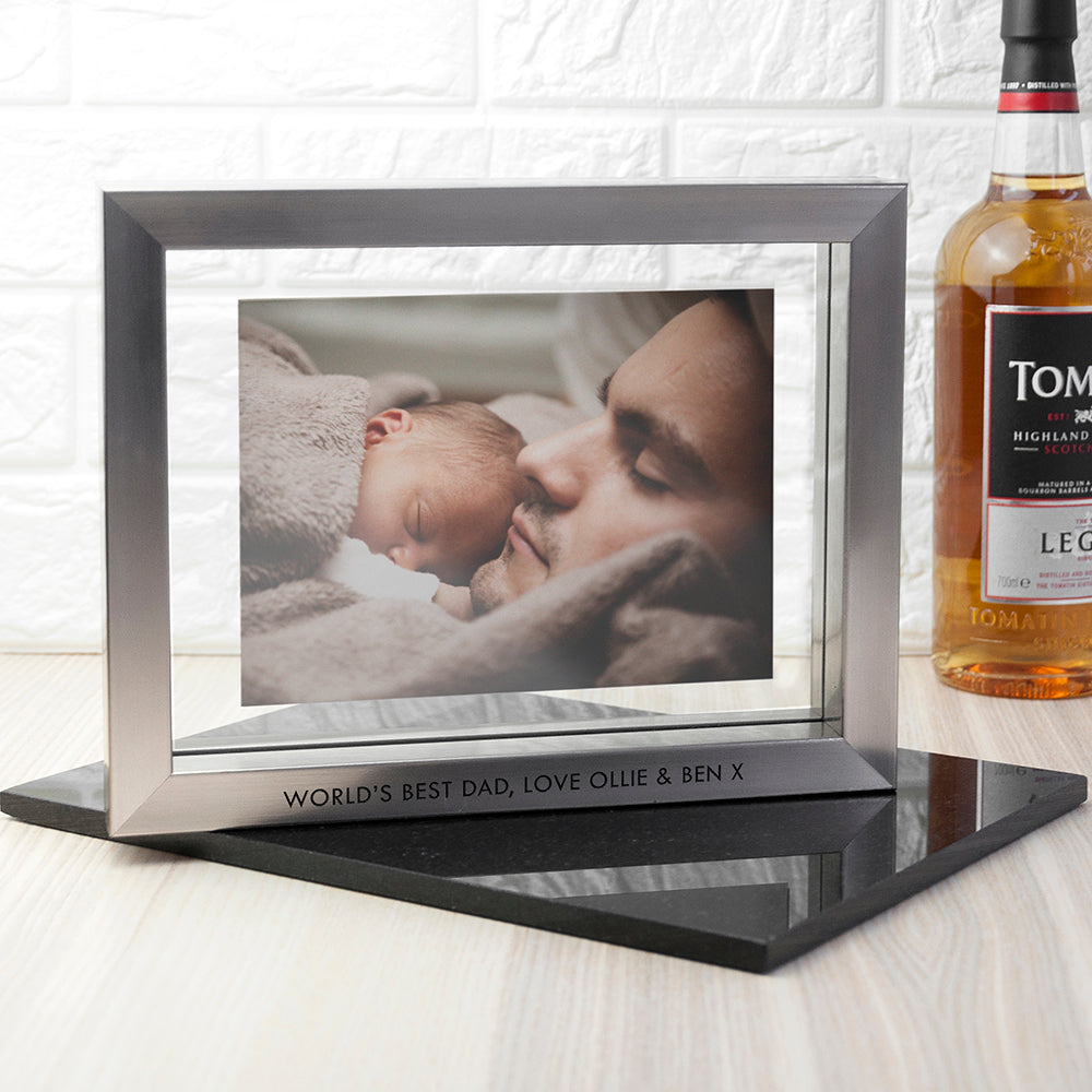 Personalised Metallic Grey Photo Frame - treat-republic