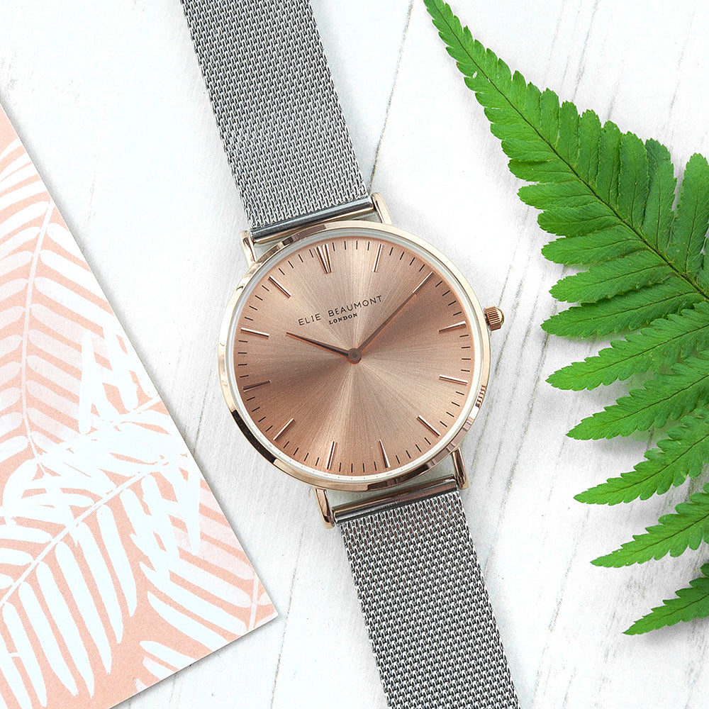 Personalised Metallic Mesh Strap Watch With Rose Gold Dial