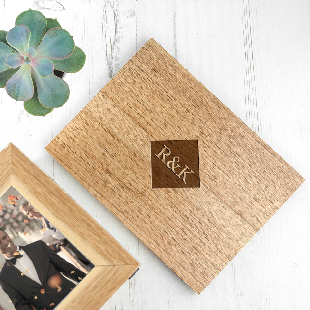 Personalised Midi Oak Photo Cube Keepsake Box With Initials - treat-republic