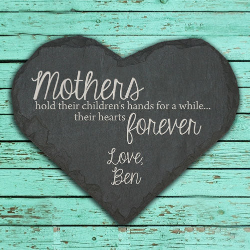 Personalised Mothers Hold Hands and Hearts Black Slate Keepsake - treat-republic