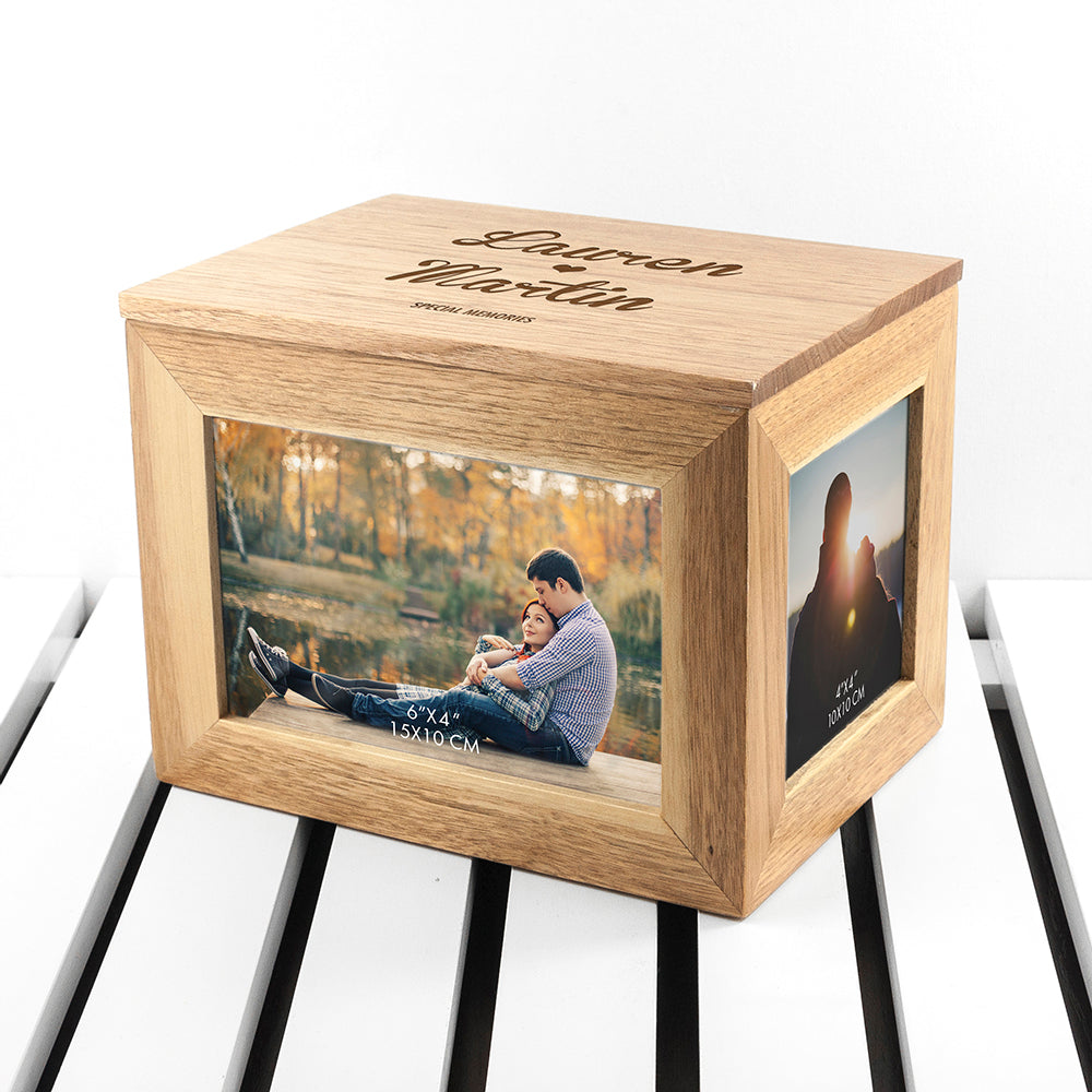 Personalised Name and Heart Midi Oak Photo Cube Keepsake Box - treat-republic