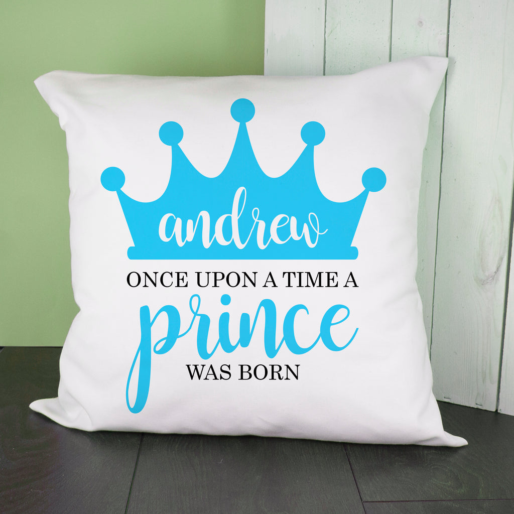 Personalised Once Upon A Time A Prince Was Born Cushion Cover - treat-republic