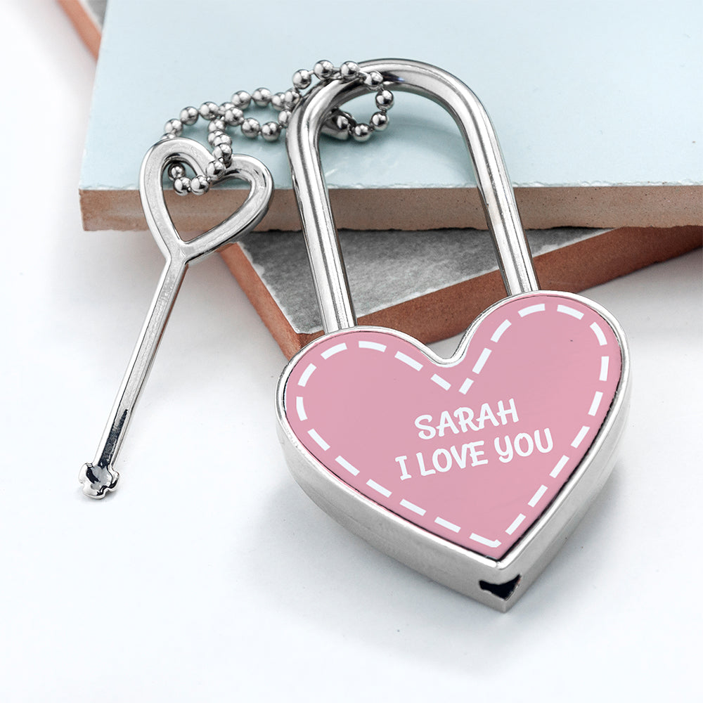 Personalised Parisienne Heart Padlock - treat-republic