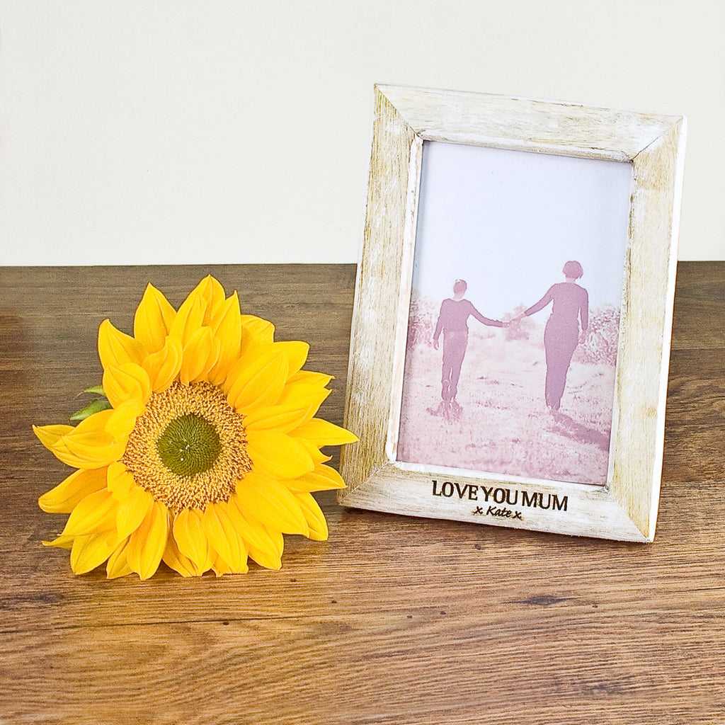 Personalised Photo Frame with White Wood Effect - treat-republic