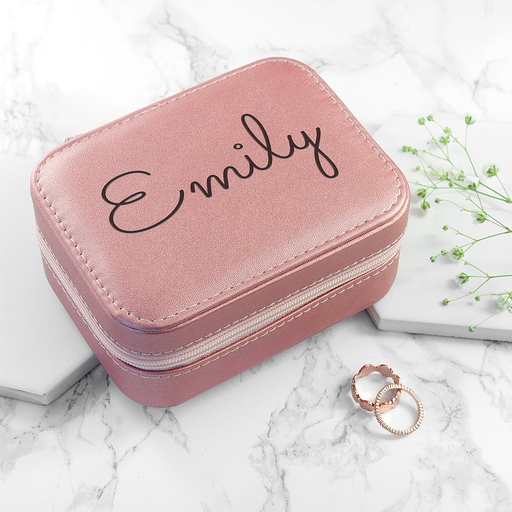 Personalised Pink Travel Jewellery Case