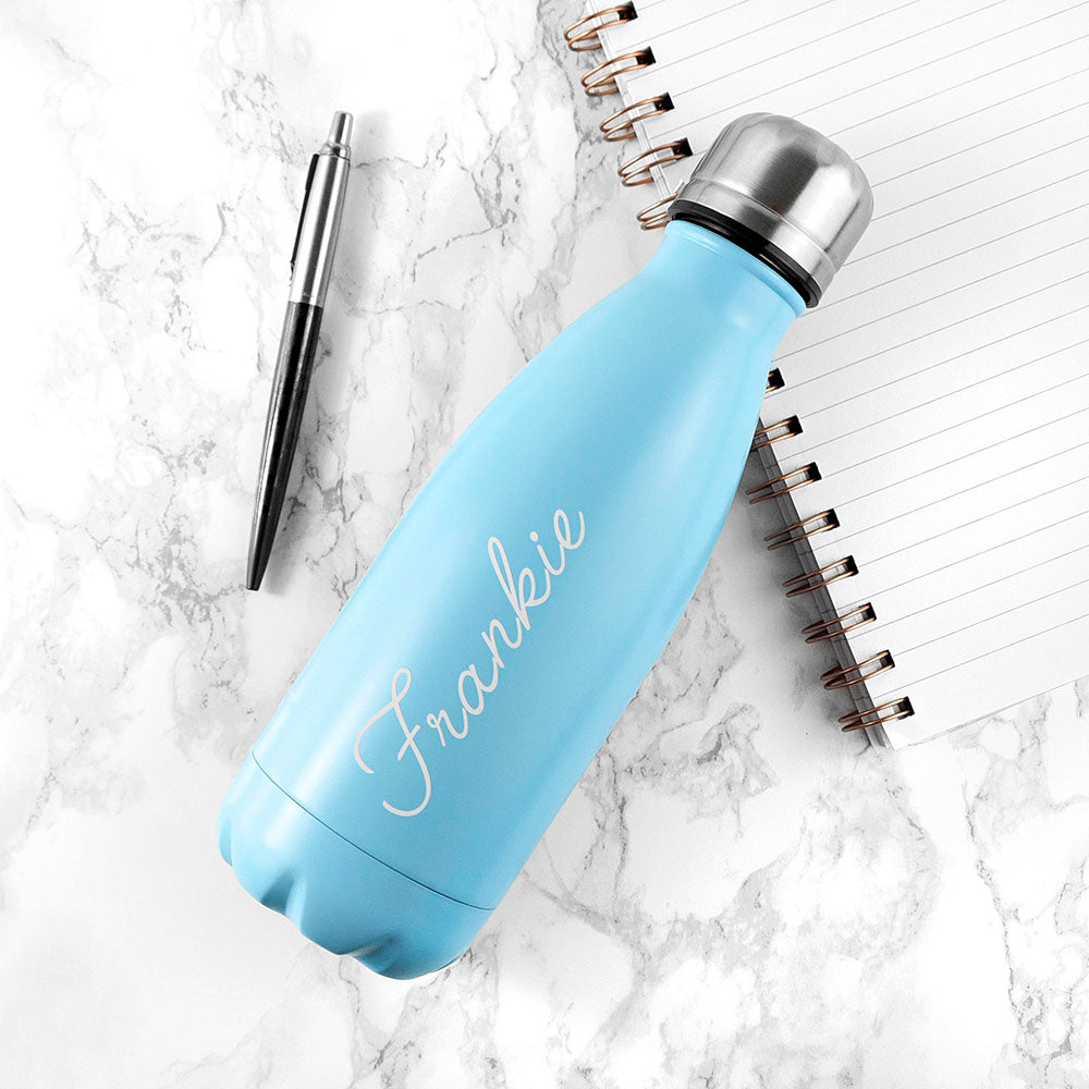 Personalised Sky Blue 350ml Water Bottle - treat-republic