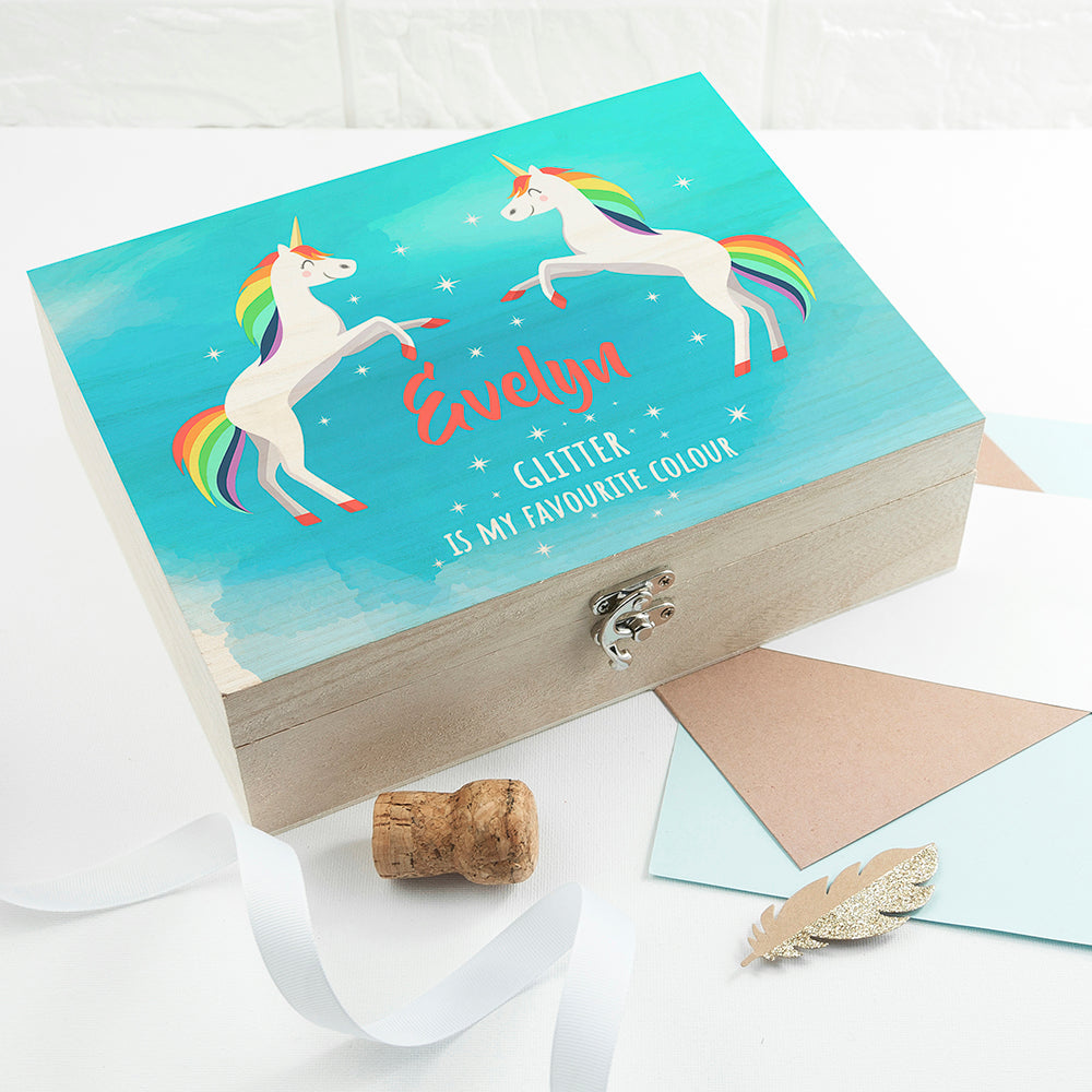 Personalised Rainbow Unicorn Accessories Box - treat-republic