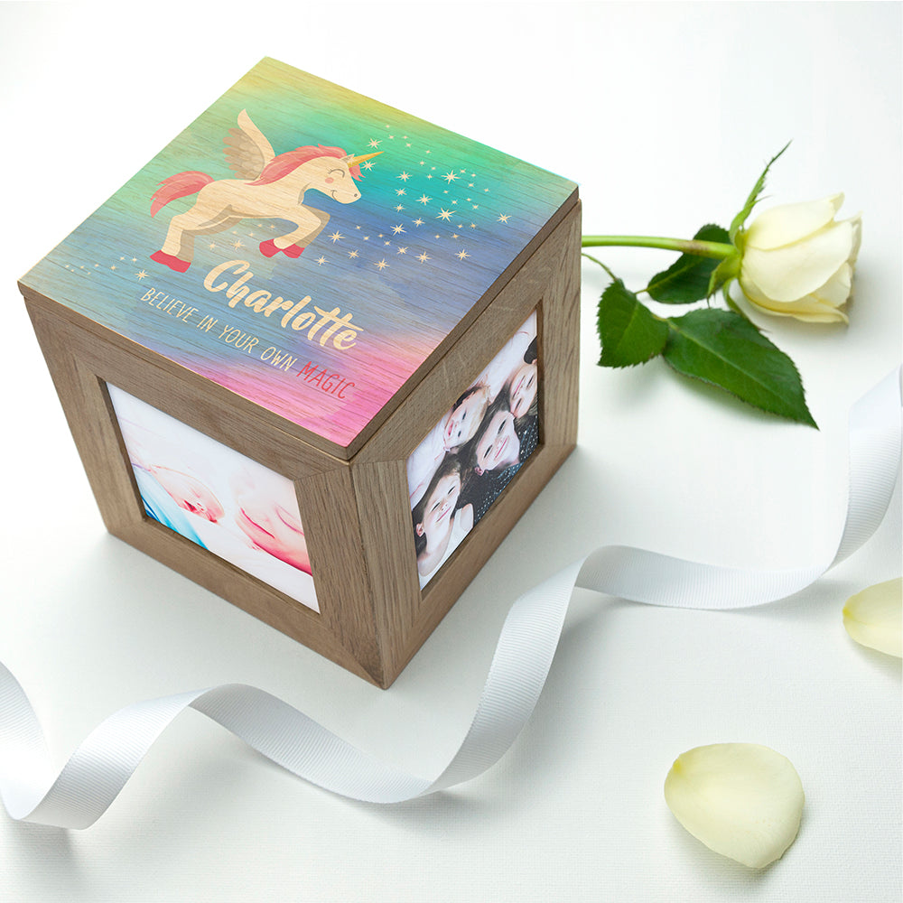 Personalised Baby Unicorn Photo Cube with Rainbow Background