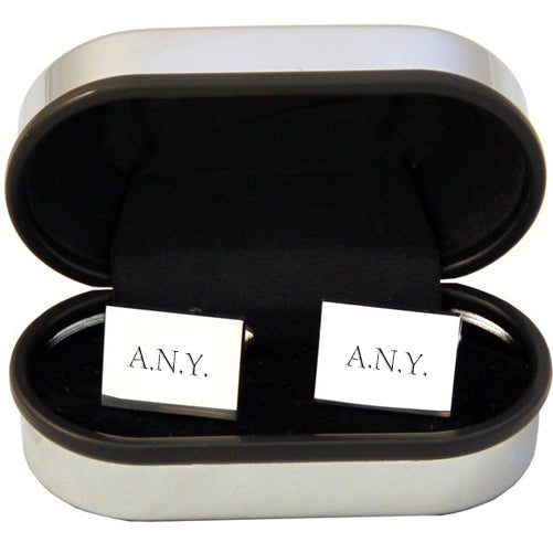 Personalised Rectangle Silver Plated Cufflinks - treat-republic