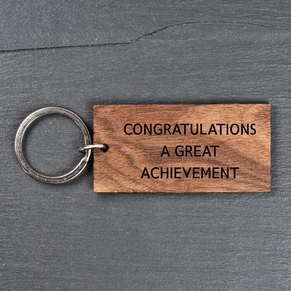 Personalised Rectangle Walnut Keyring - treat-republic