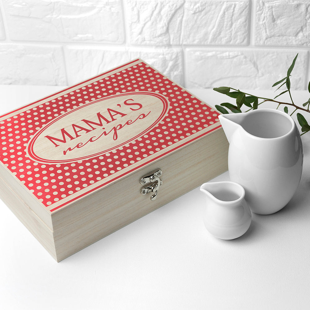 Personalised Retro Polka Dot Recipe Box - treat-republic