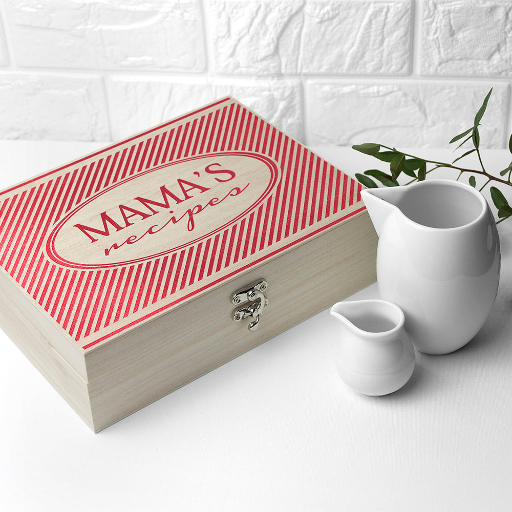 Personalised Retro Stripe Recipe Box - treat-republic