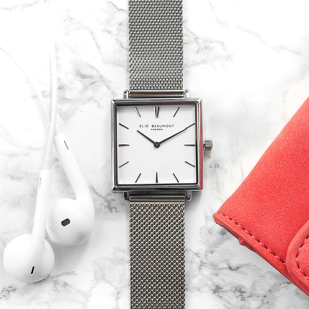 Elie Beaumont Personalised Ladies Silver Metallic Square Watch - treat-republic