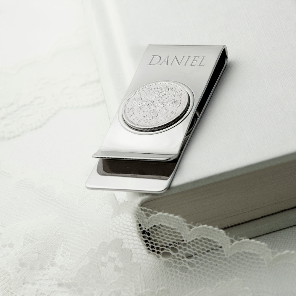Personalised Silver Plated Lucky Sixpence Money Clip - treat-republic