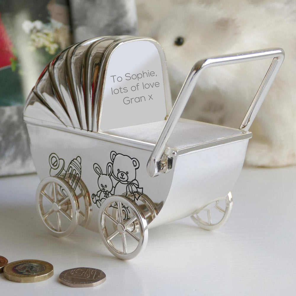 Personalised Silver Plated Pram Money Box - treat-republic