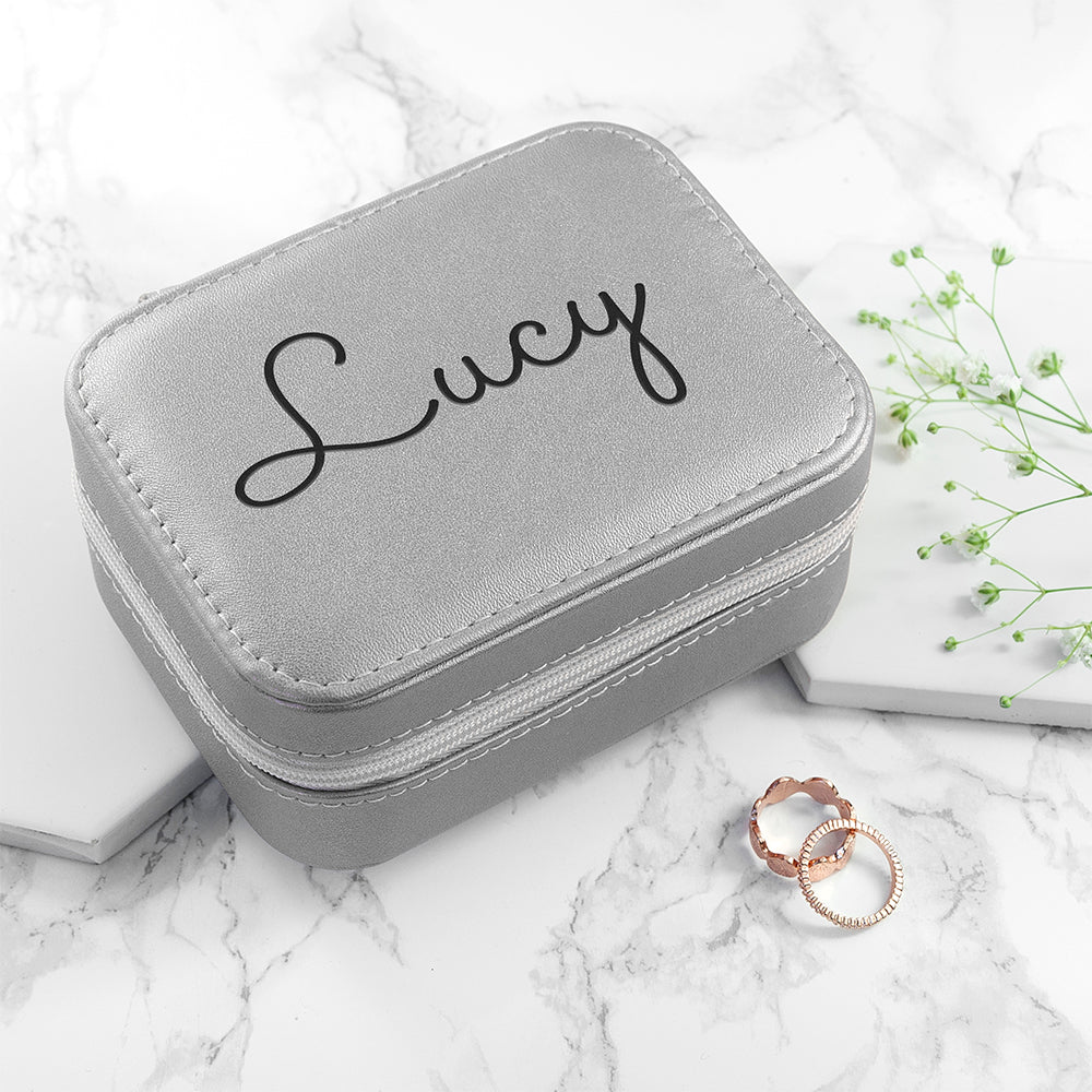 Personalised Silver Travel Jewellery Case