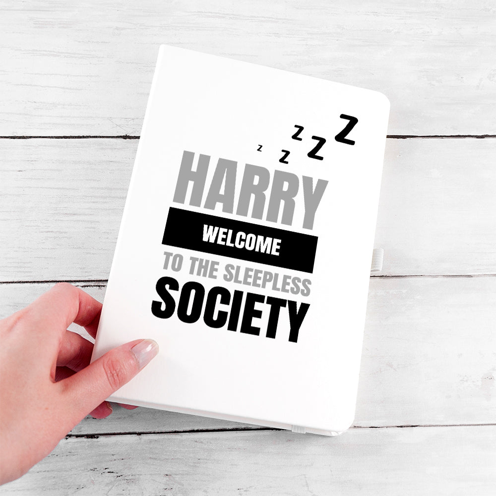 Personalised Sleepless Society A5 Notebook - treat-republic