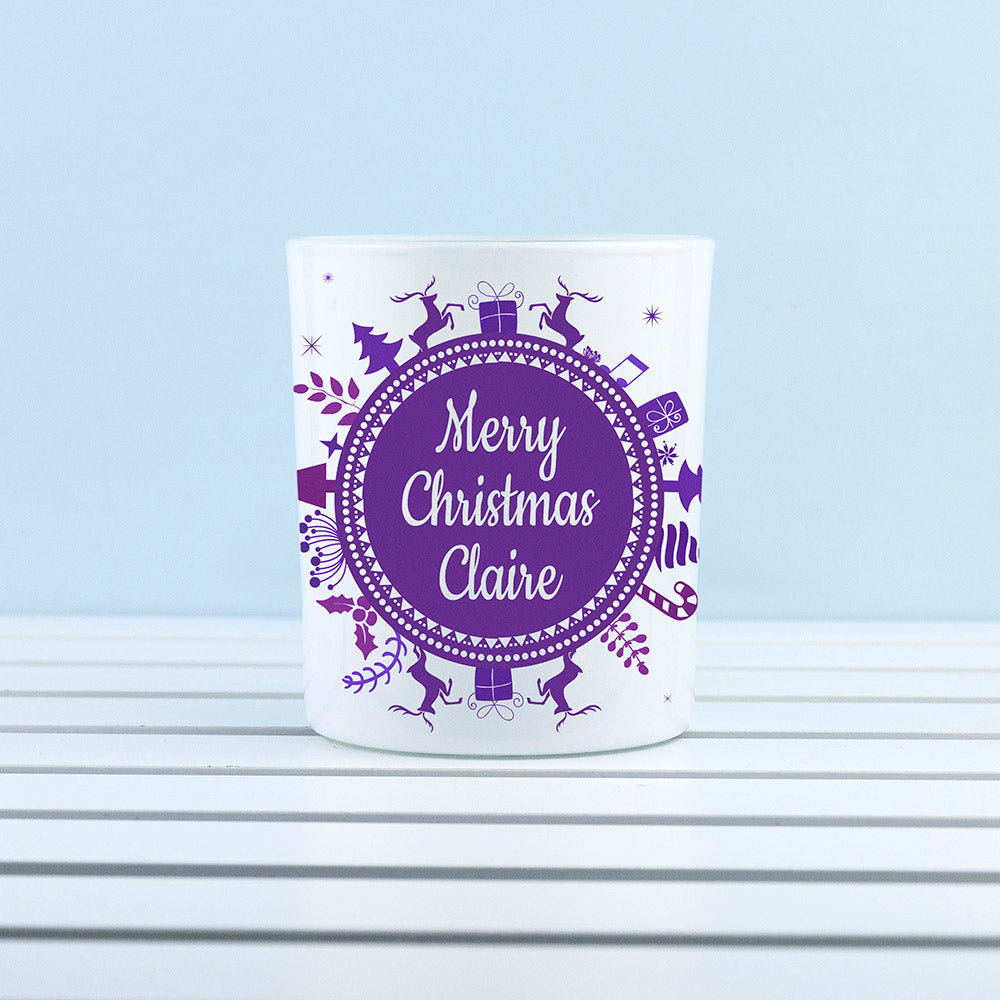 Personalised Snowflake Wreath Glass Tealight Holder - treat-republic