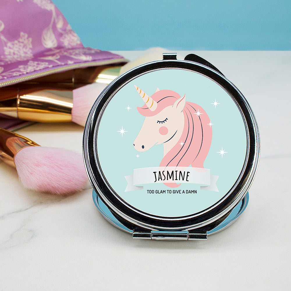 Personalised Sparkle Squad Round Blue Compact Mirror