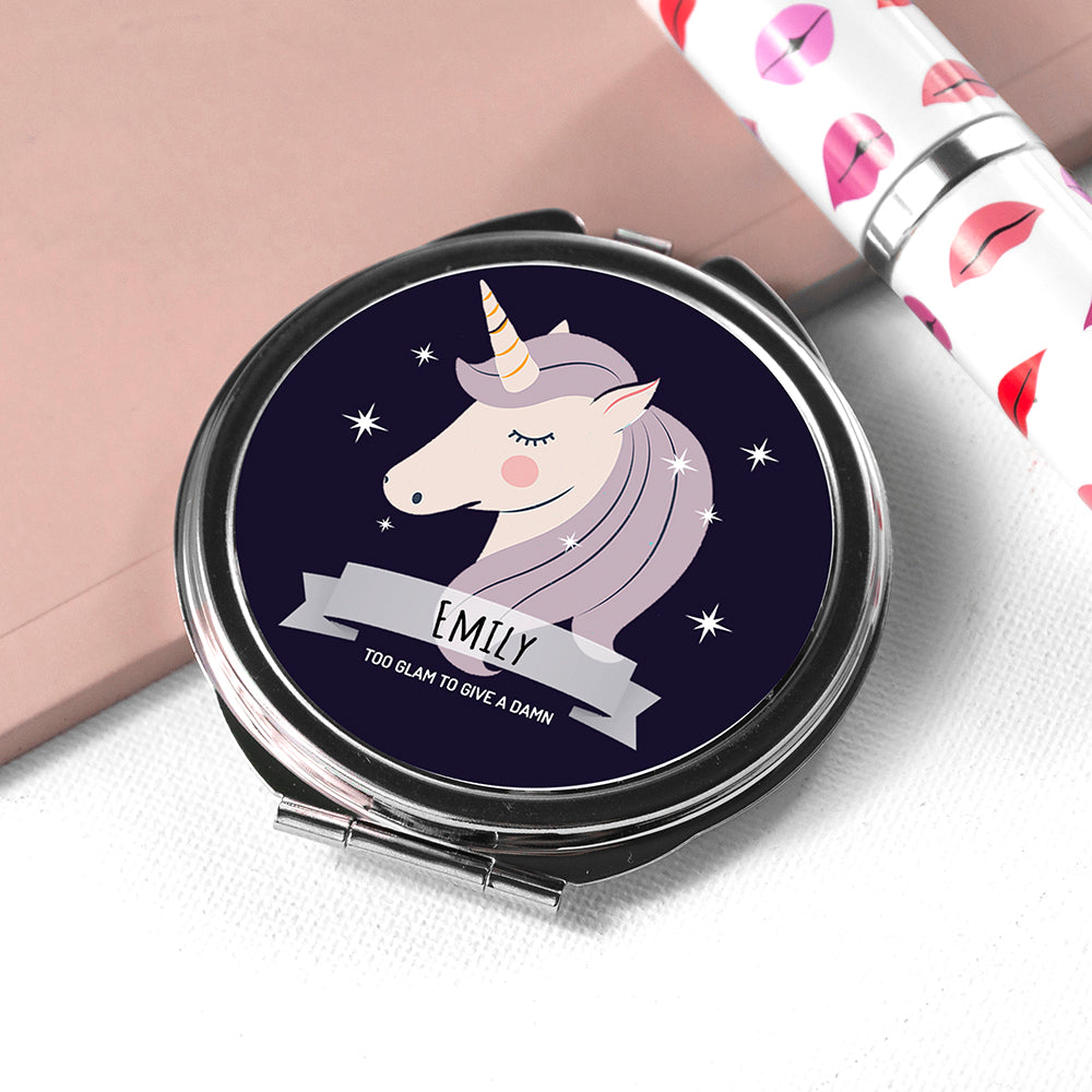Personalised Sparkle Squad Round Navy Compact Mirror - treat-republic