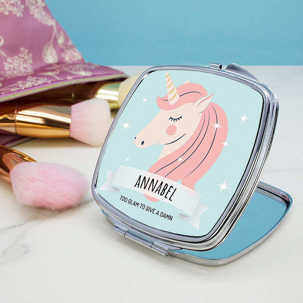 Personalised Sparkle Squad Square Blue Compact Mirror - treat-republic