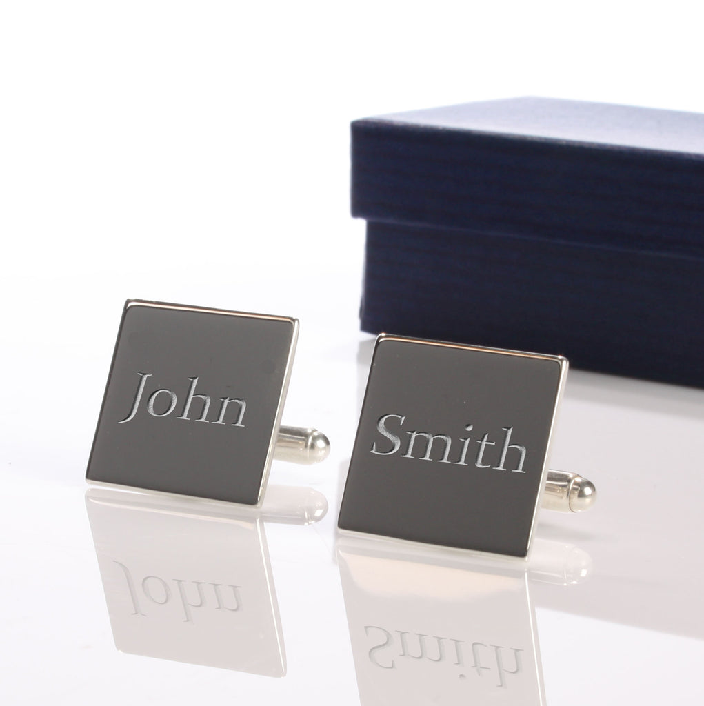 Personalised Square Silver Plated Cufflinks - treat-republic