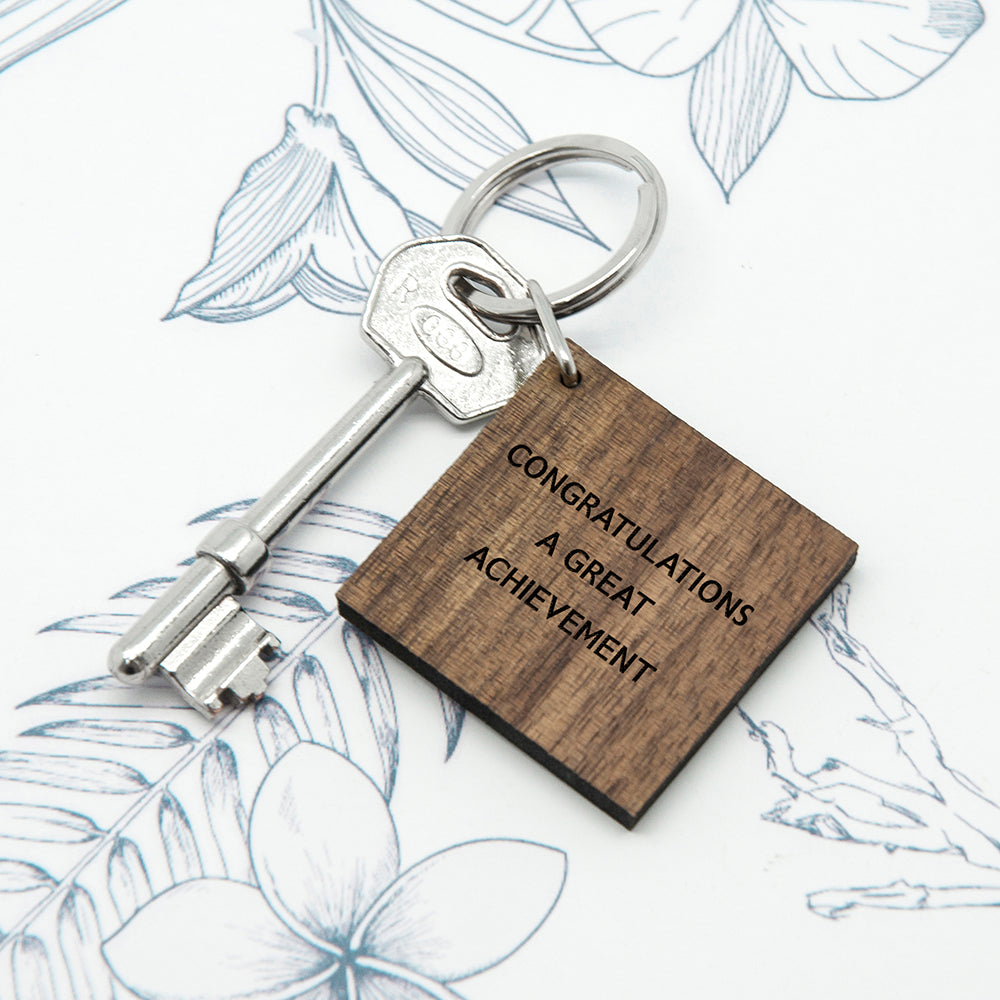 Personalised Square Walnut Keyring - treat-republic