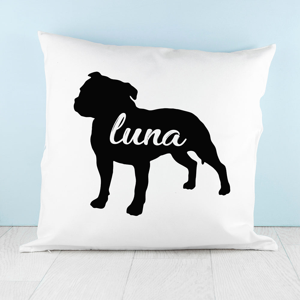 Personalised Staffordshire Terrier Silhouette Cushion Cover - treat-republic