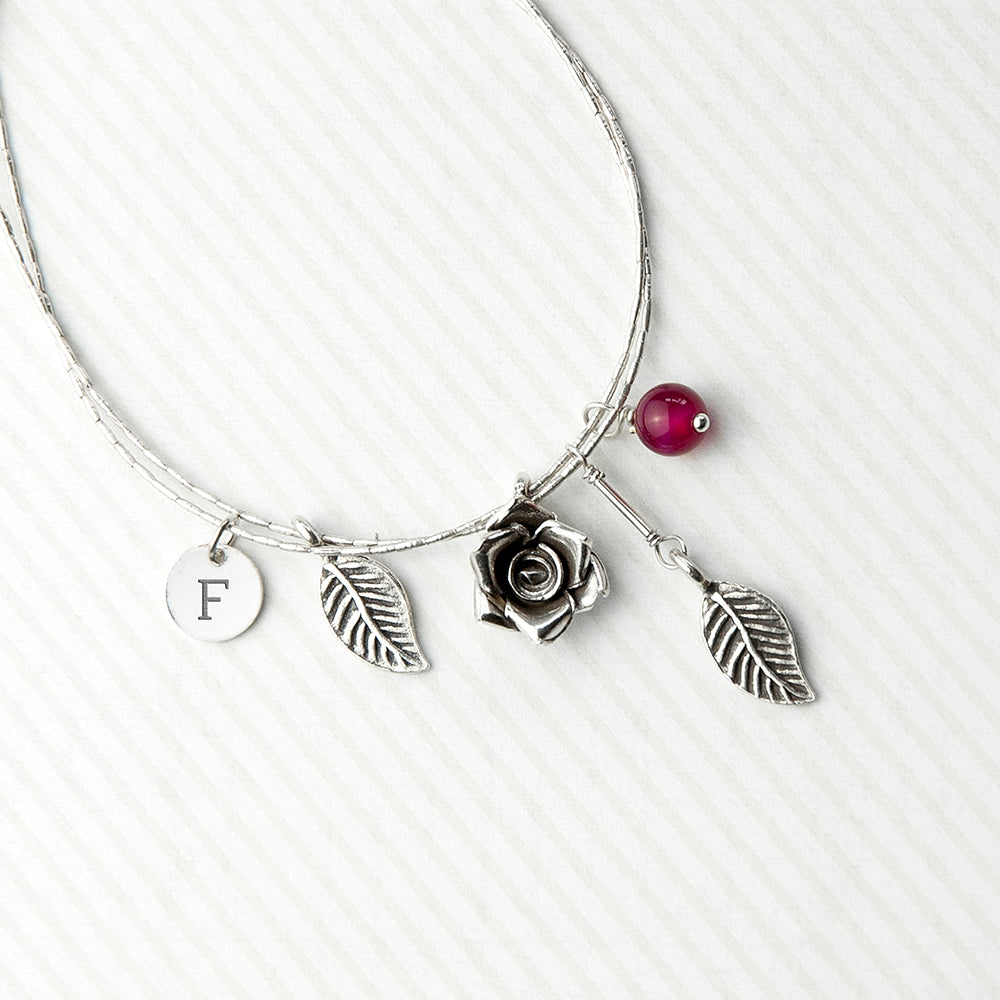 Personalised English Rose Bracelet With Rose Quartz or Ruby Stones - treat-republic