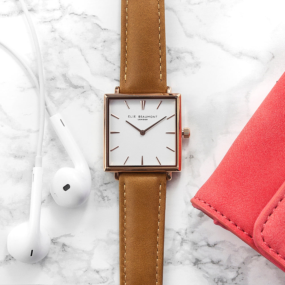 Elie Beaumont Personalised Ladies Tan Square Leather Watch - treat-republic