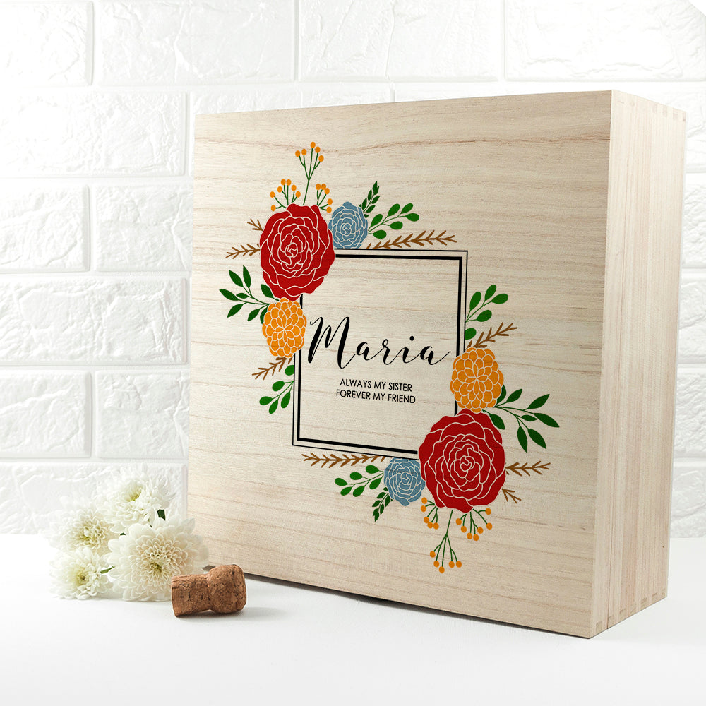 Personalised Vibrant Flower Frame Bridesmaid Box - treat-republic