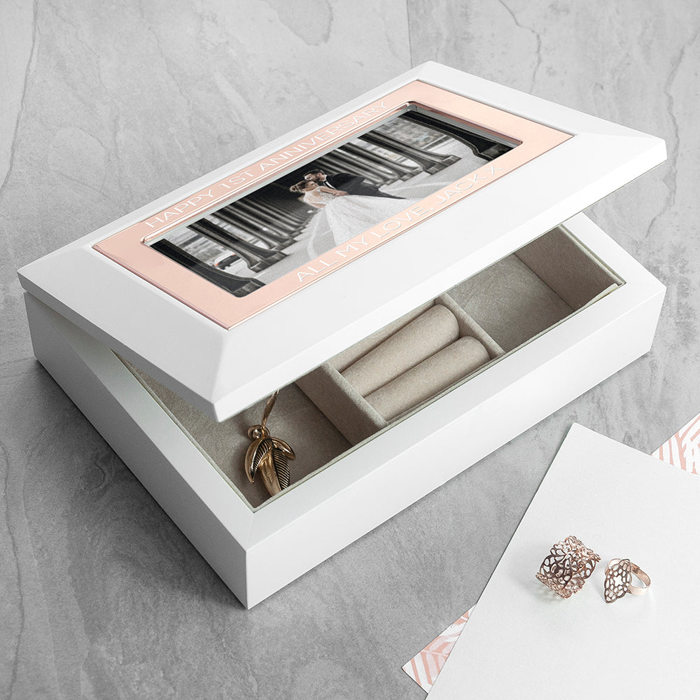 Personalised White & Rose Gold Photo Jewellery Box - treat-republic
