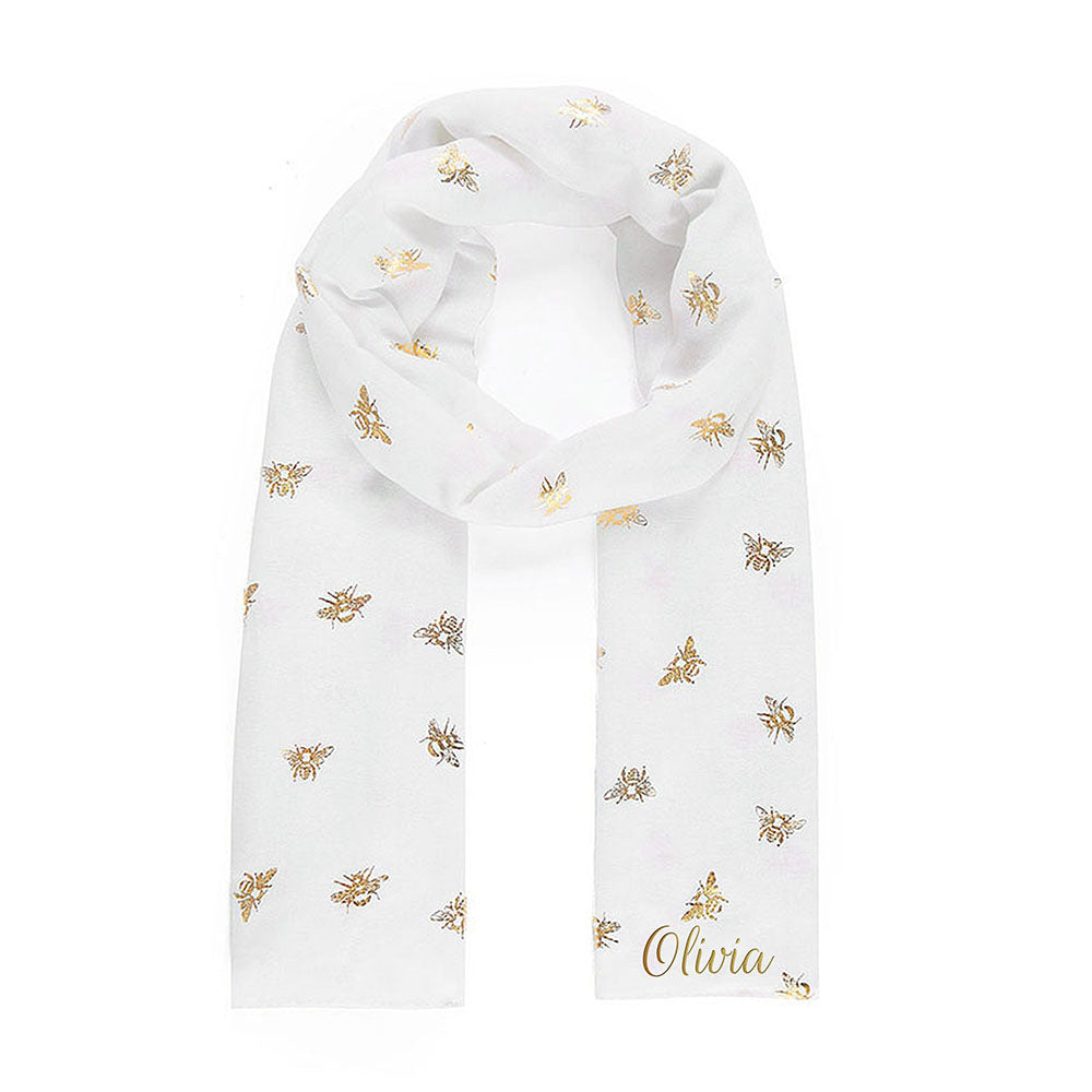 Personalised White Scarf With Gold Bee Detail - treat-republic