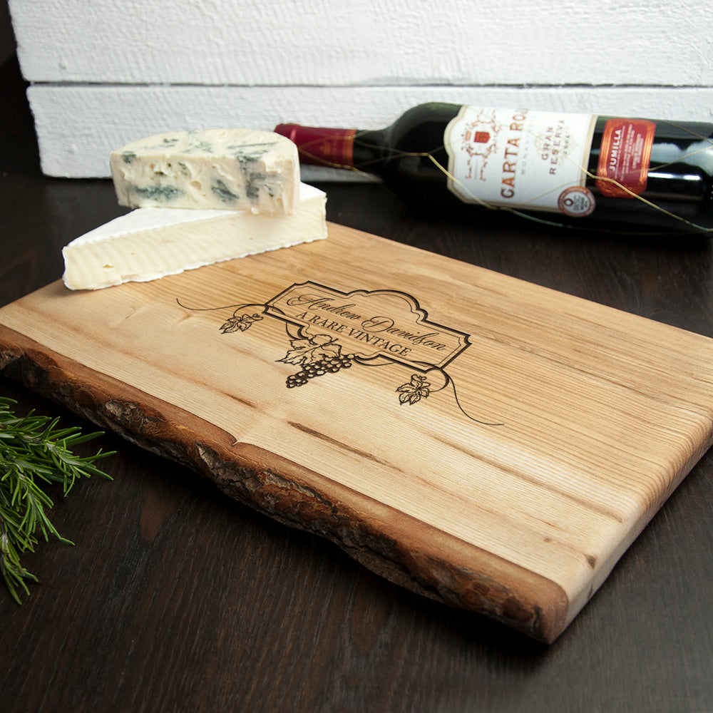 Personalised Wine And Cheese Rustic Wood Platter - treat-republic