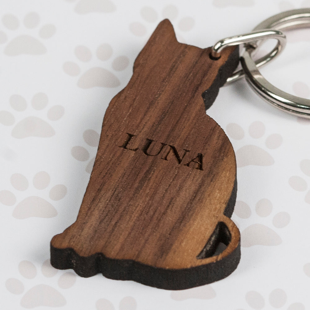 Personalised Wooden Cat Key Ring