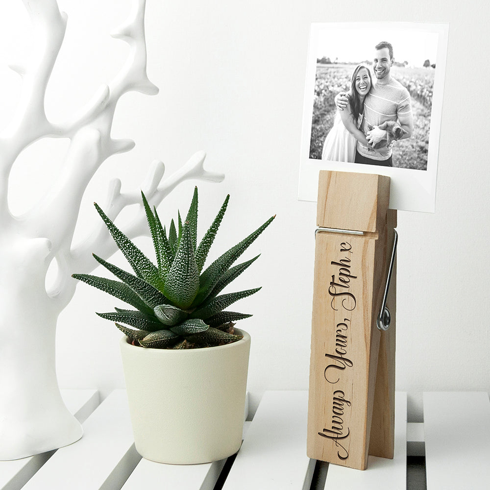 Personalised Wooden Peg Photo Holder