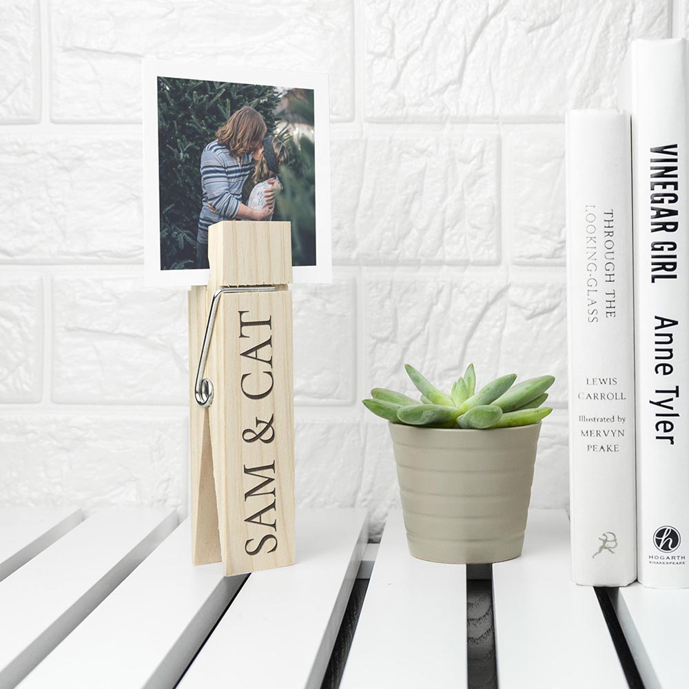 Personalised Wooden Peg Photo Holder - treat-republic