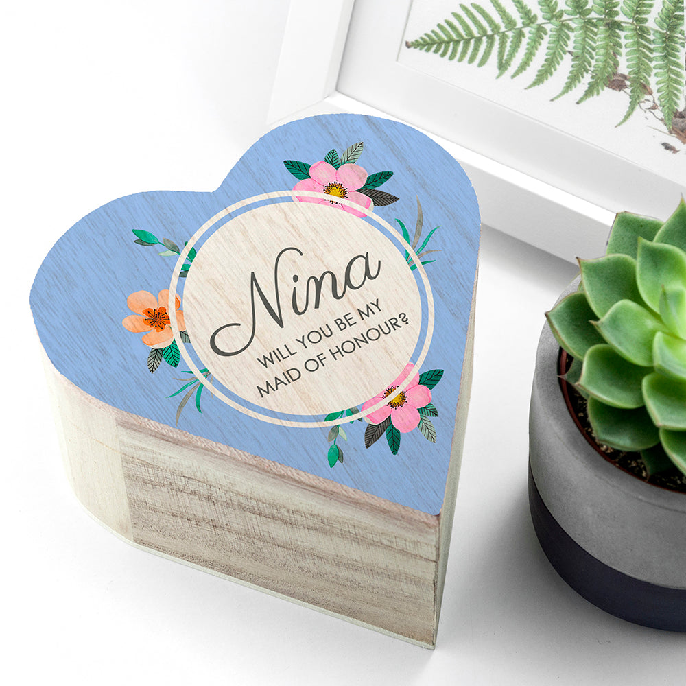 Personalised Blue Floral Heart Trinket Box - treat-republic